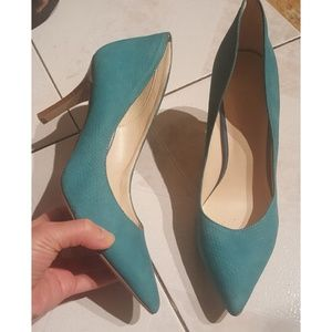Nine West teal size 7.5 leather heels